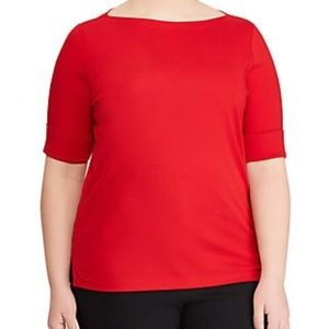 Lauren Ralph Lauren Judy Elbow Sleeve Red Knit Top
